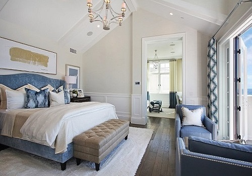 Coastal Blue And White Color Bedroom For Summer.