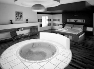 Cozy white and black bedroom interior design.