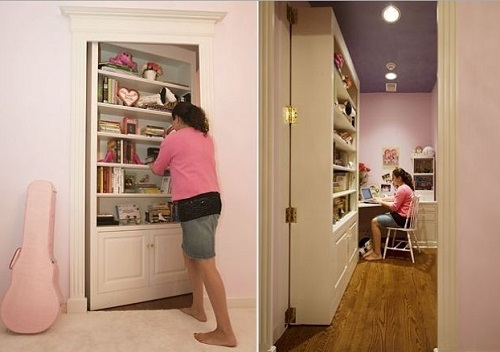 Faux Book Case as secret door for home room.