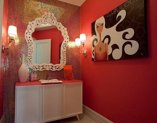 Feminine glamour wallpaper ideas for bathroom.
