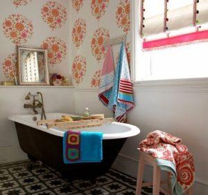 Floral prints for bathroom wallpaper decor ideas.