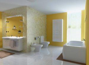 Fresh citrus look wallpaper for bath-room.
