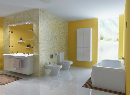 Fresh citrus look wallpaper for bath-room.