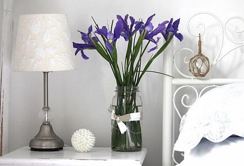 Fresh flowers in bedroom.