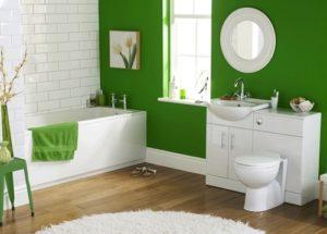 Green wallpaper ideas for bathroom.