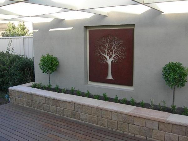 Home exterior outdoor art.
