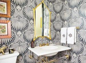 Lotus wallpaper for bathroom.