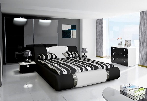 Lovely bedroom interior decoration in black and white color combination.