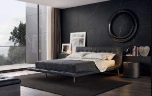 Modern black-white bedroom interior design