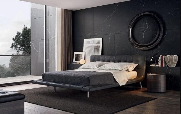 Modern black-white bedroom interior design