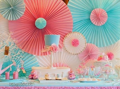 Paper Rosette Backdrop Used To Decorate Home