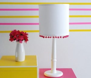 Pom-Pom lamp for summer bedroom decor.