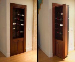 Secret door behind wine rack