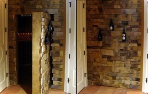 Stone-Wall hidden door in room.