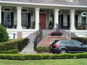 Stoop railings for home exterior design.
