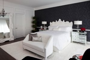 Sunset Plaza white and black bedroom design from SFAdesign.