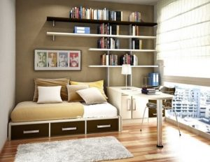 Wall of books work as lovely texture layer in home.