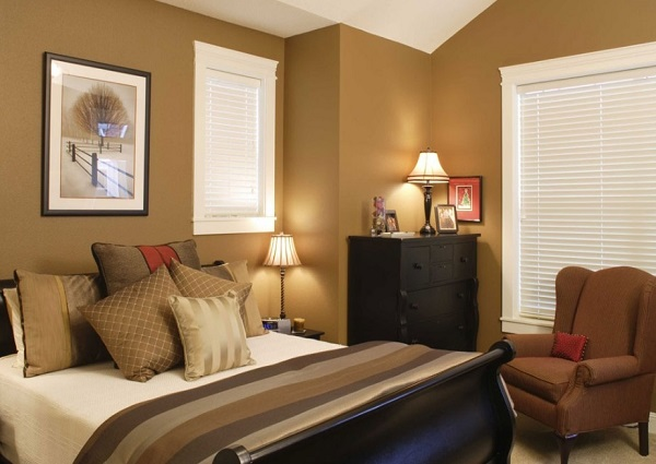 Warm color wall bedroom interior for basement bedroom idea.
