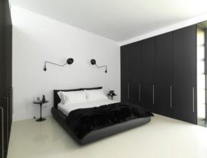 White & black bedroom interior design from Ian Moore.