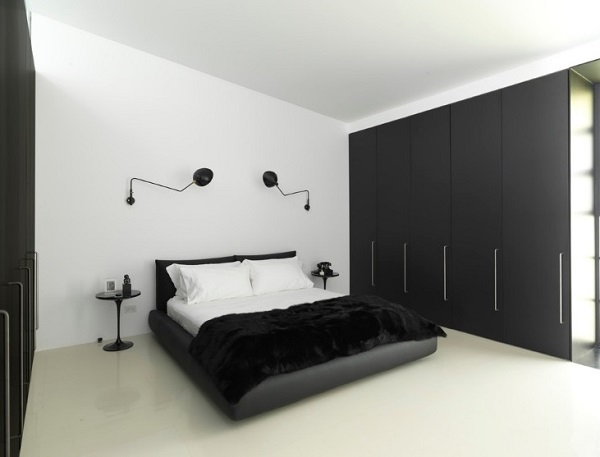 White & black bedroom interior design from Ian Moore.