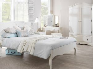 White painted wooden furniture for bedroom decoration.