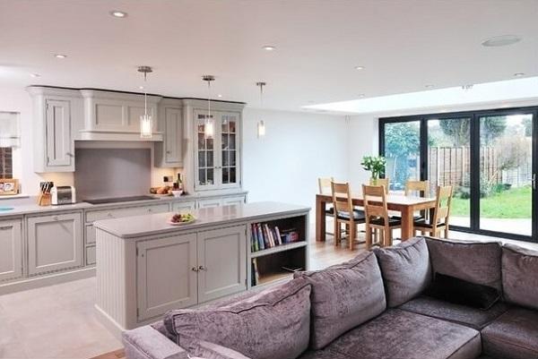Grey-white open kitchen design inspiration