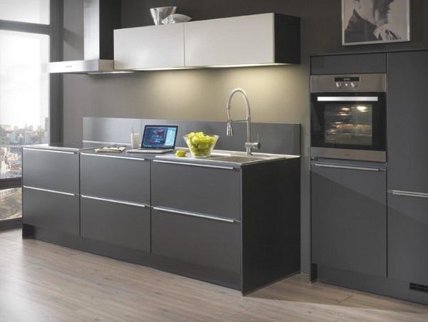 Lovely gray kitchen design.