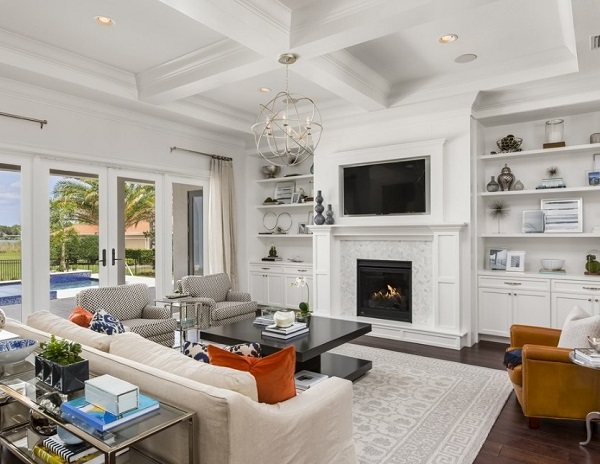 Make living room attractive before selling house