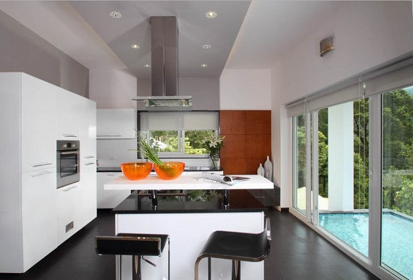 White cabinet wall for grey kitchen decor