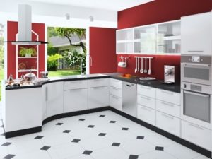 White cabinets to decorate red kitchen interior with red hot walls