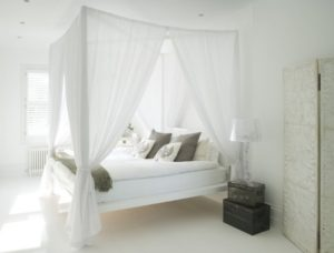 Awesome bedroom design with white walls and furniture