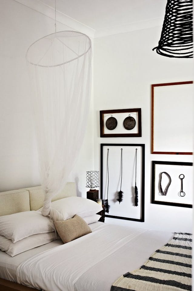 Beautiful white hanging for bedroom design and decor