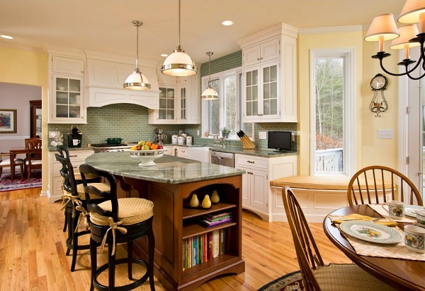 or lime green walls can be teamed with pale yellow cabinets and yellow
