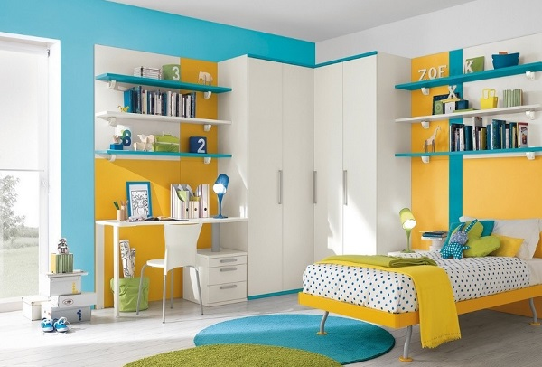 Blue Yellow Bedroom Design Idea