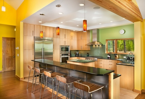 Latest yellow-green kitchen designs