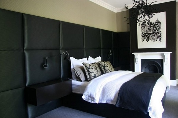 Modern black bedroom interior decor