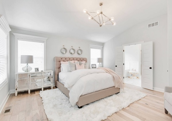 Transitional white bedroom interior design