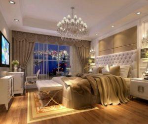 White-Beige bedroom design gives royal taste