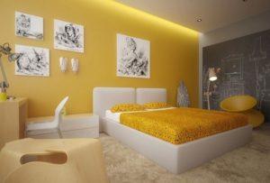yellow bedroom interior design ideas