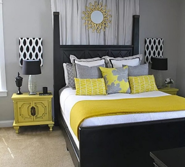 Yellow-grey bedroom design photo by homedecorbuzz