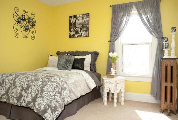 yellow-grey bedroom design photo