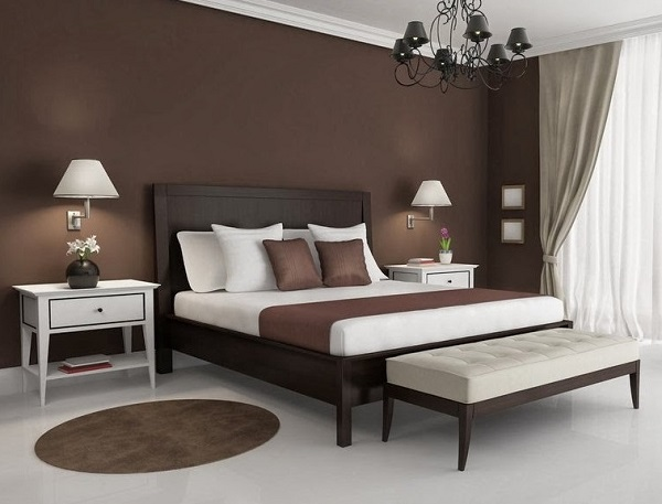 beautiful brown-white bedroom design photo