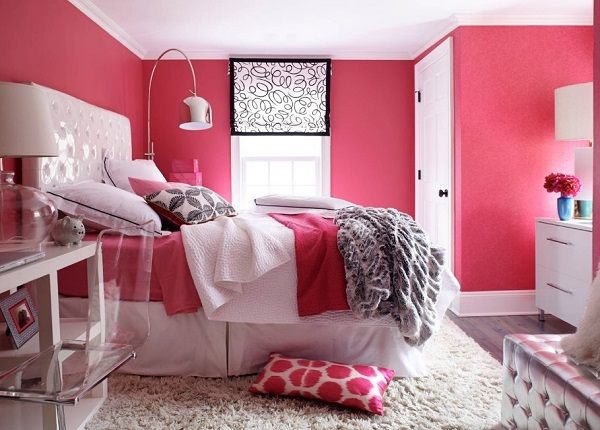 latest pink color bedroom design