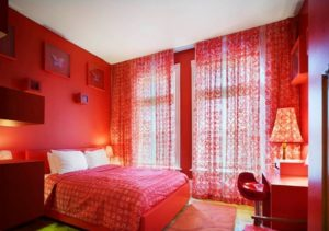 latest red bedroom design photos