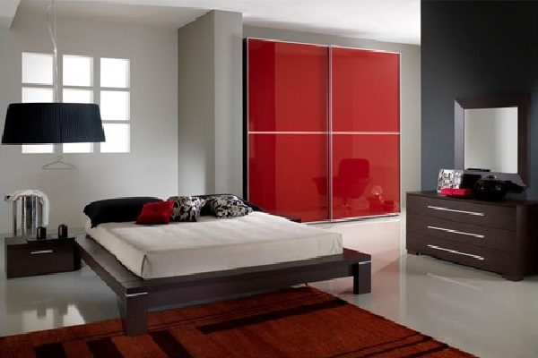 Red bedroom interior decor inspiration