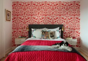 red texture for bedroom walls