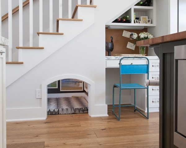 Amazing space for dogs to live below stairs area