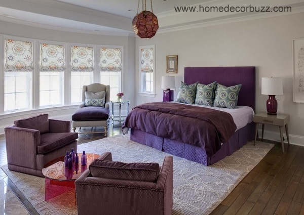 Beautiful purple bedroom interior decor