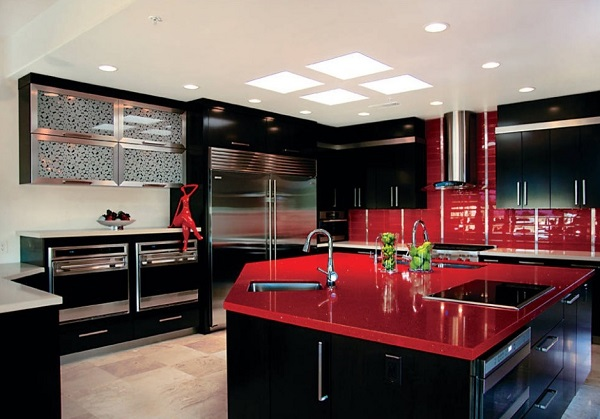 How to design a red and black kitchen home decor buzz for Beautiful black kitchens