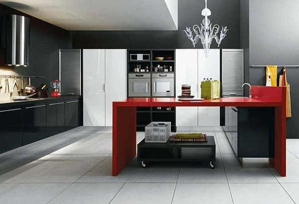 Black-red kitchen interior designs